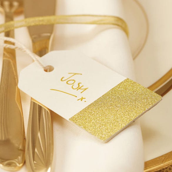 gold glitter and ivory favour tag template