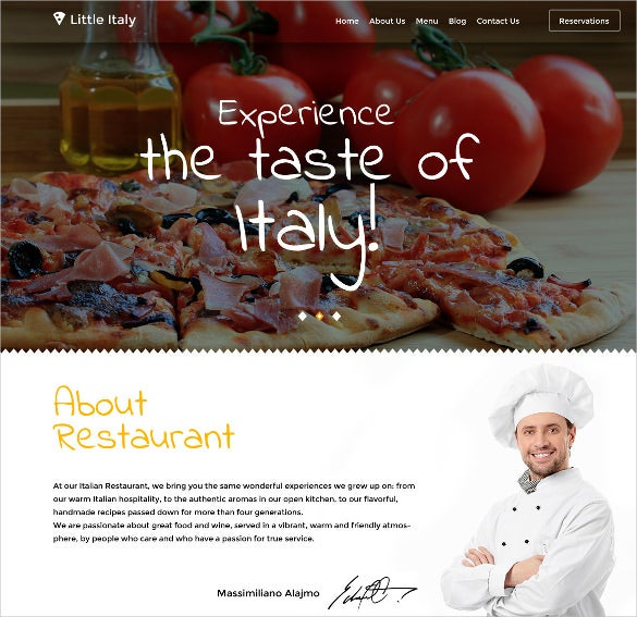 minimalist italian restaurant wordpress template