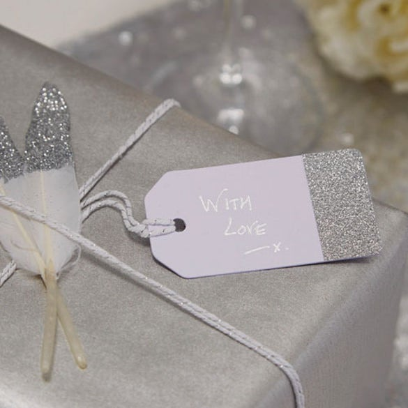 silver glitter and white favour tags