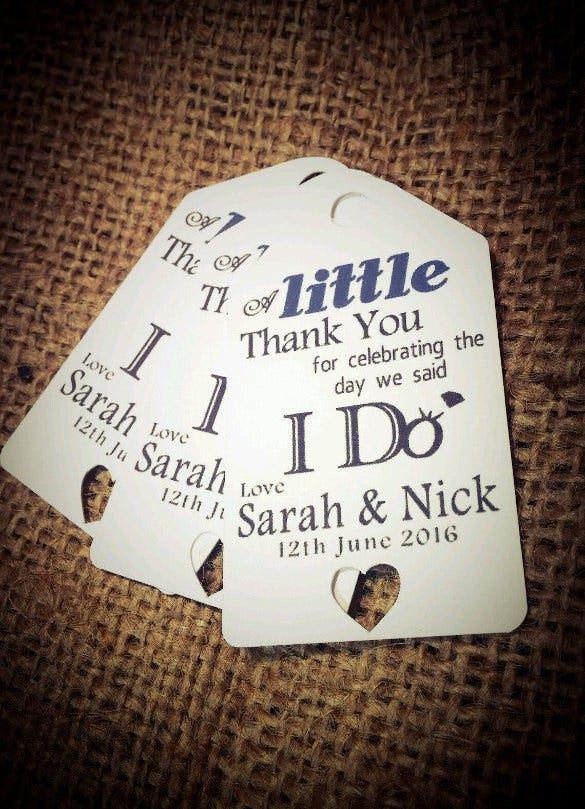 vintage personalised wedding favour tags packs
