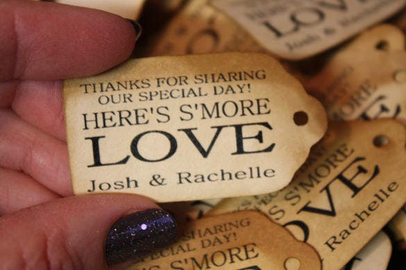 personalized smore love favor tag
