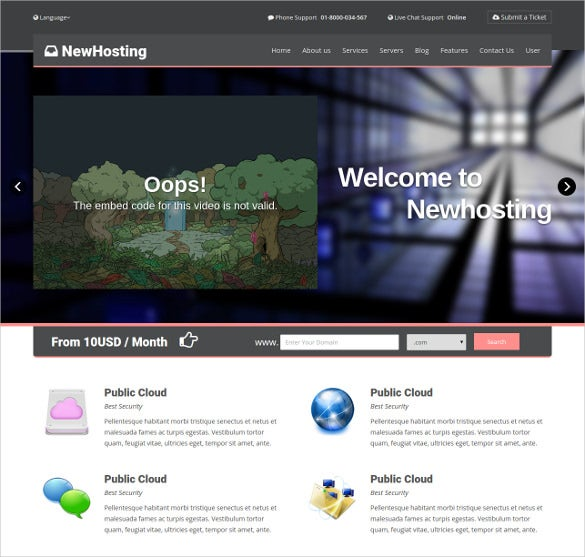 responsive hosting css 3 html 5 php theme