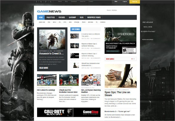 responsive game directory wordpress template