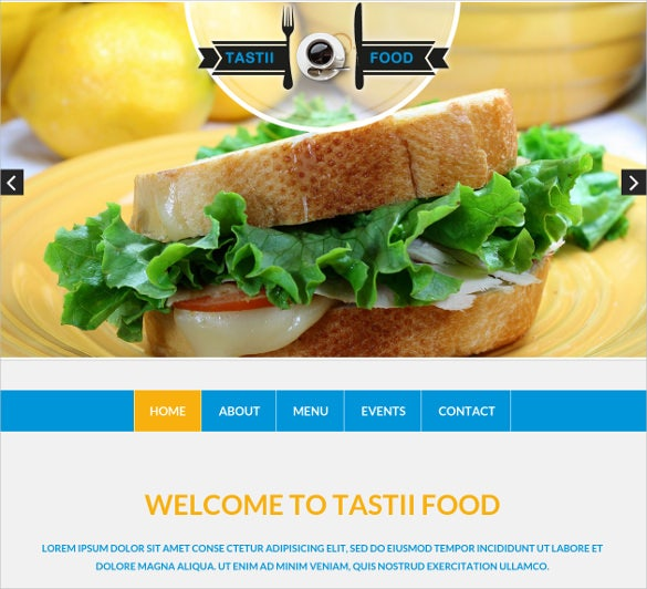 food website with backend hosting php template