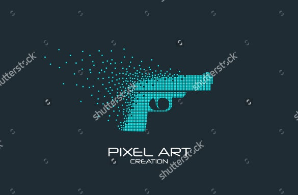 pixel art pesign of the pistol logo template download