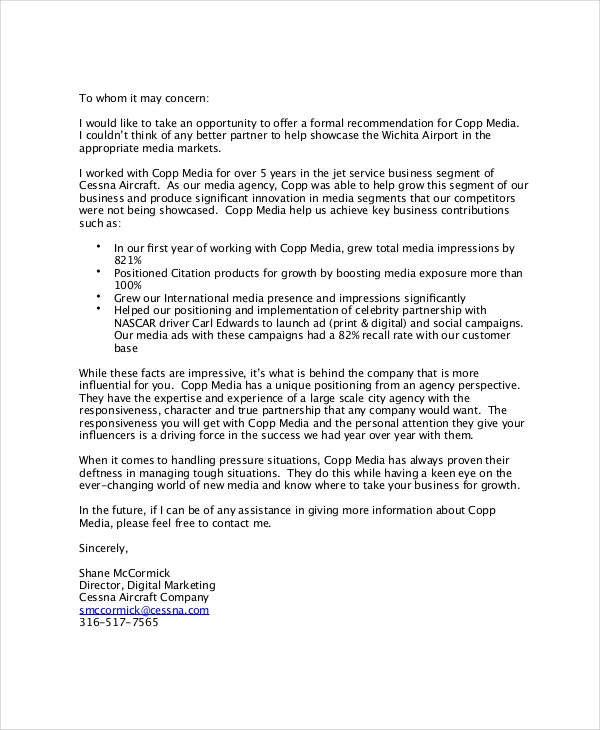 Formal Business Reference Letter  Business Reference Letter Template