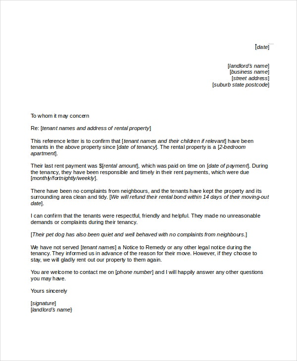 business reference letter for a rental