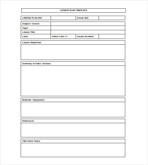 Blank Lesson Plan Template   Free  Excel Word Google