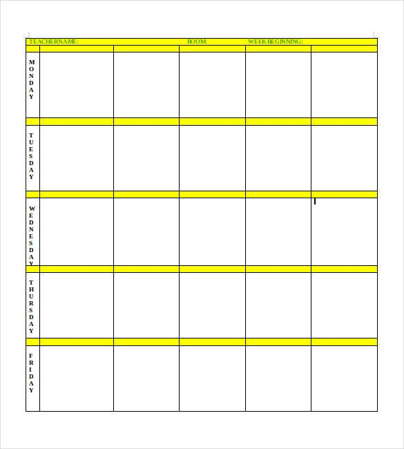 Blank Lesson Plan Template   Free Pdf Excel Word Google