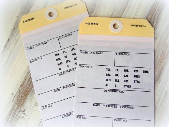 jumbo vintage inventory manila tag printable