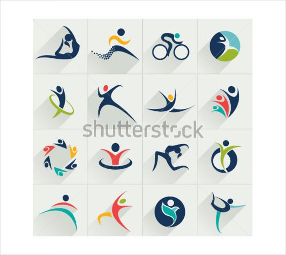 fitness social relationship sport set and vector logos
