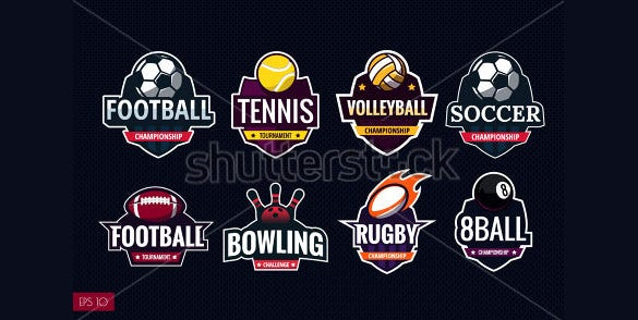 mega set of colorful sports logos