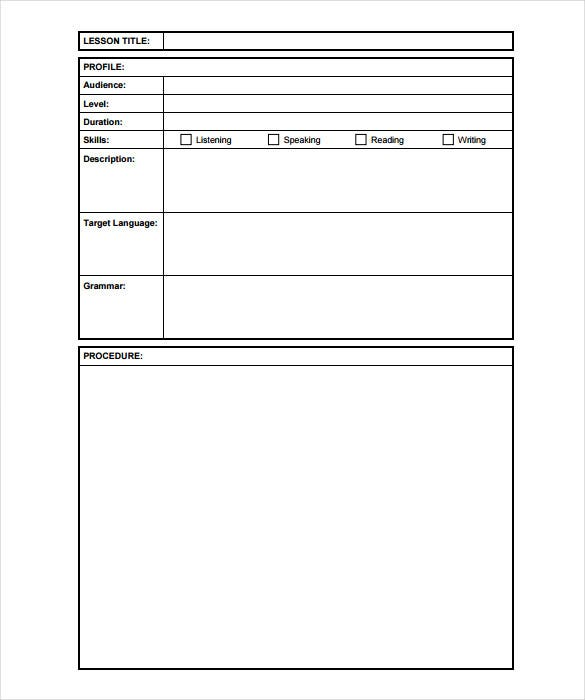 photo regarding Free Printable Lesson Plans Template named Blank Lesson Method Template - 15+ No cost PDF, Excel, Phrase