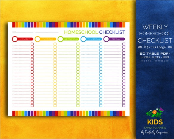 weekly homeschool lesson plan for kids