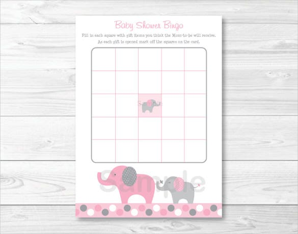 pink elephant baby shower blank bingo card