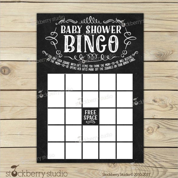 chalkboard baby shower bingo game printable
