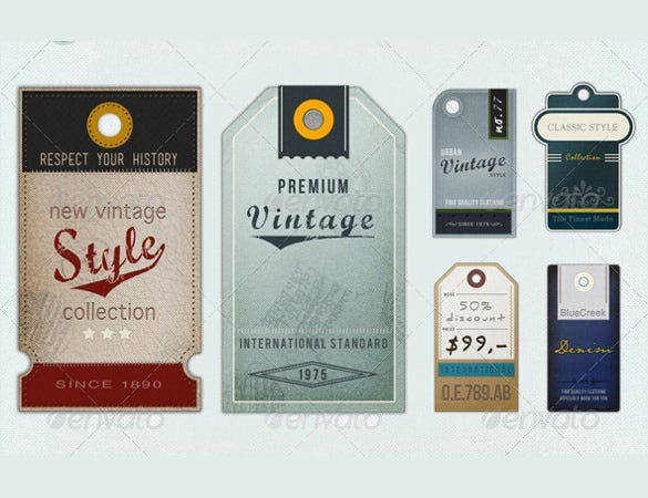 6 retro vintage tag printable template