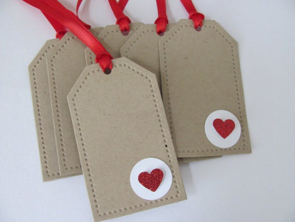 red hearts valentines day favour tag template