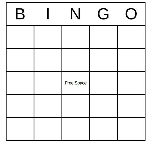 Simple Blank Bingo Board Pdf