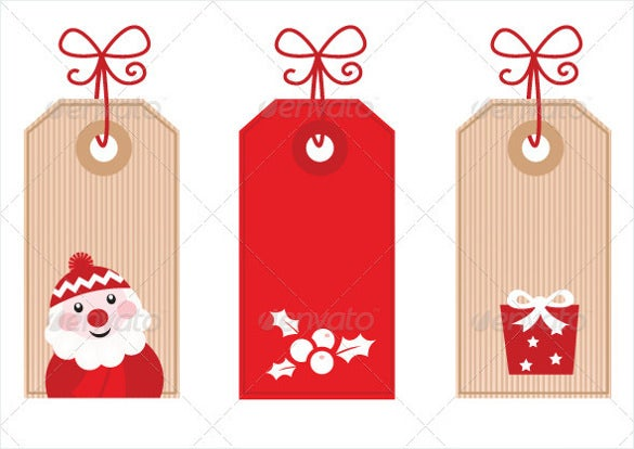 retro christmas gift tag eps format printable template