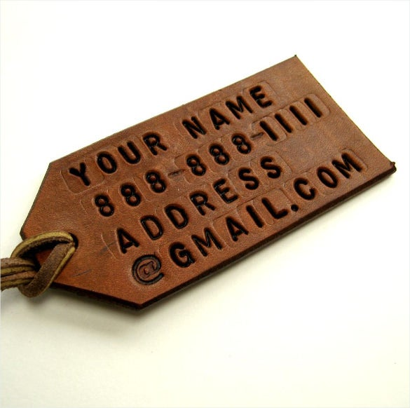 leather custom luggage tag printable