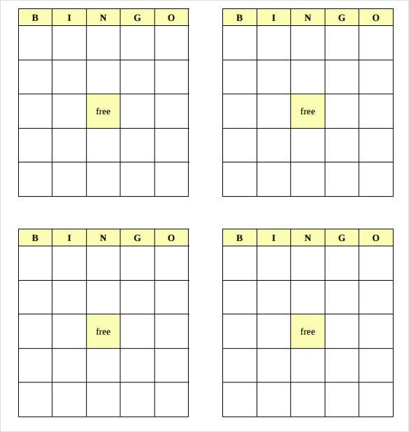 Beautiful Blank Bingo Cards
