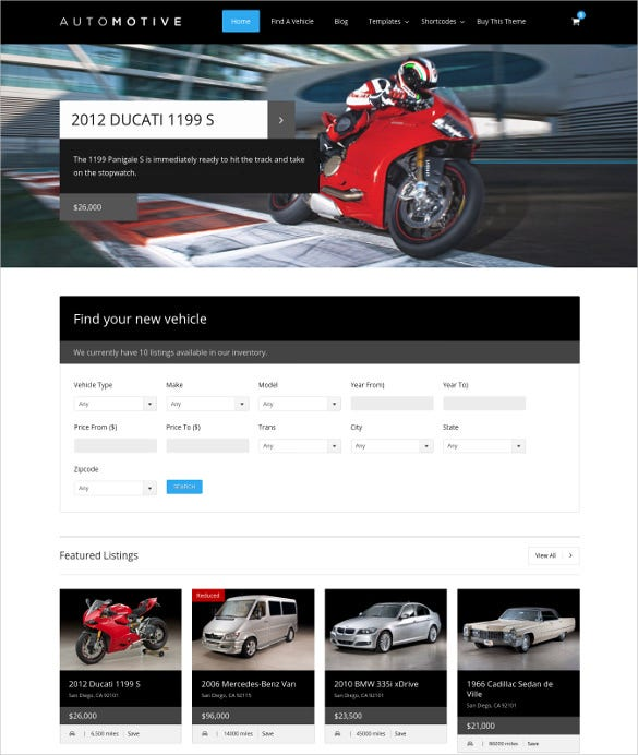 automotive classified responsive wordpress template