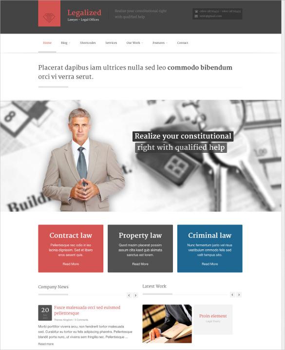 law legal business wordpress theme