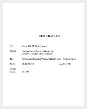 Legal Memo Template for Health Care Organization PDF Download