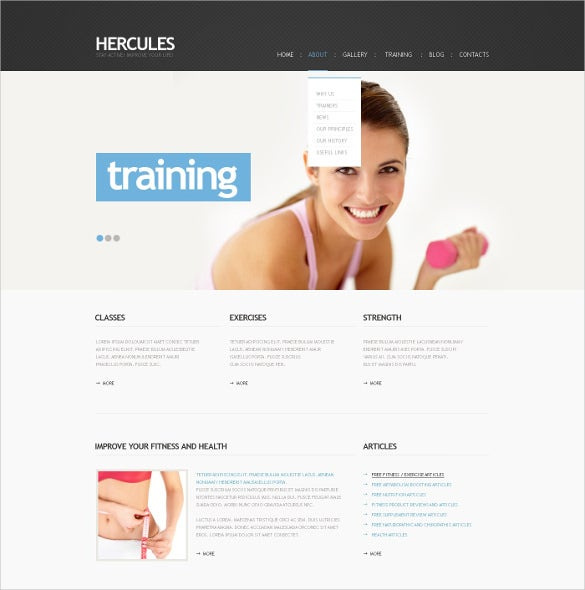 fitness training wordpress theme