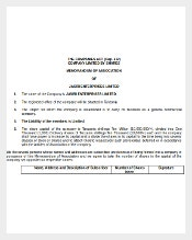 Memorandum And Articles of Company Association Word Document