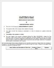 Memorandum And Articles of Company Association Word Document