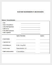 Blank Memorandum of Understanding Template Excel Download