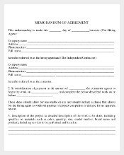 Memorandam of Comany Agreement PDF Document Free Download