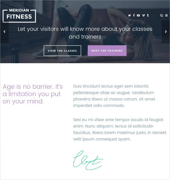 pretty fitness gym wordpress theme