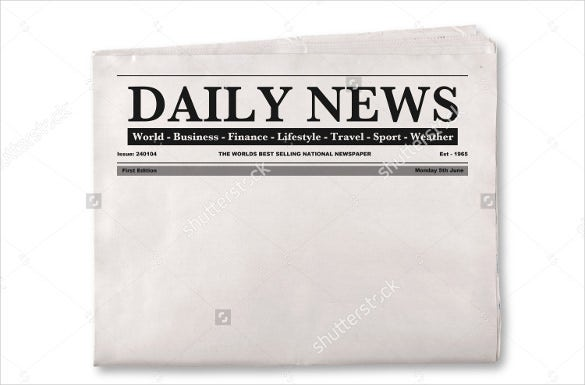blank daily newspaper with empty space