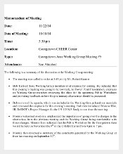 Memorandum of Meeting Template Free PDF Download