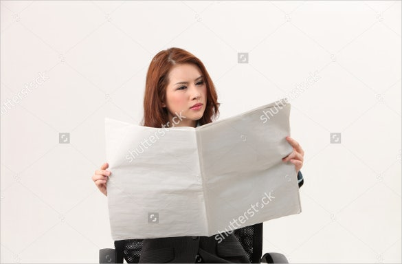 blank newspaper reading woman