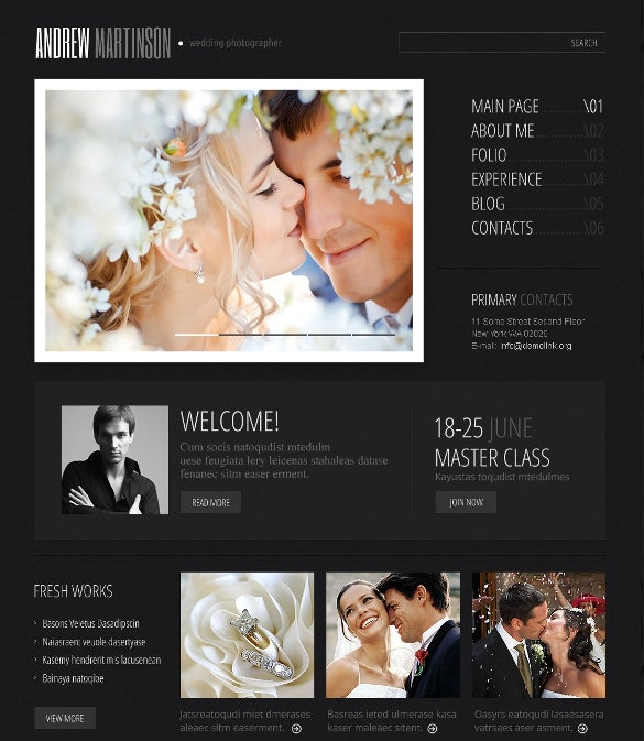 wedding photographer portfolio wordpress theme