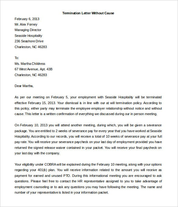 High Quality Free Contract Termination Letter Without Cause Sample