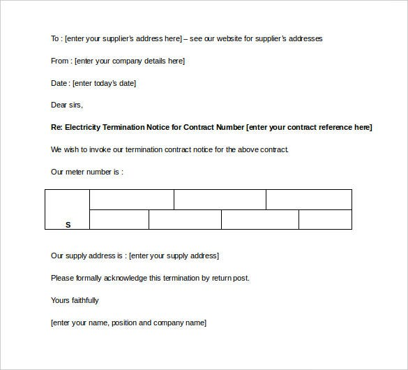 electricity contract termination letter template free download