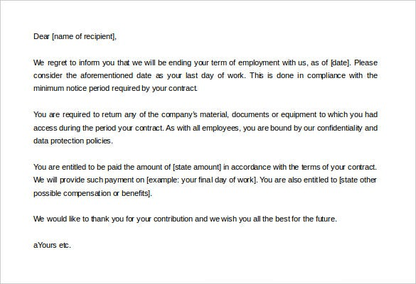 Contract Termination Letter Template 20 Free Sample Example – Letters of Termination of Employment Examples