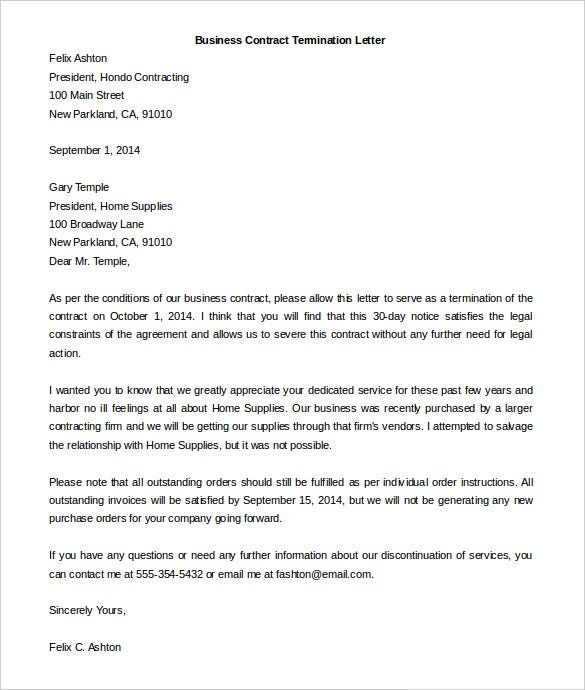 Free termination letter template 39 free sample example format free business contract termination letter template example spiritdancerdesigns Images