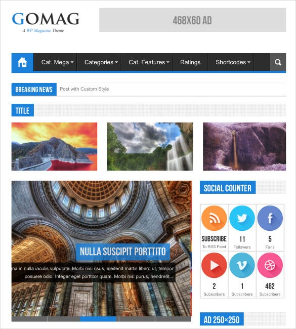gomag – responsive news wordpress psd theme