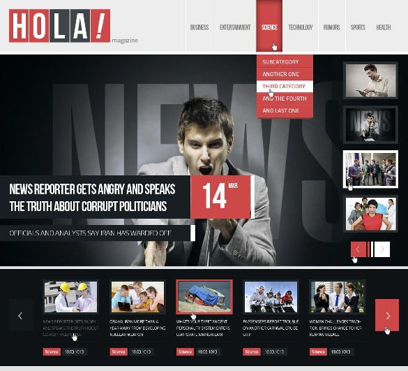 hola news magazine free psd template file