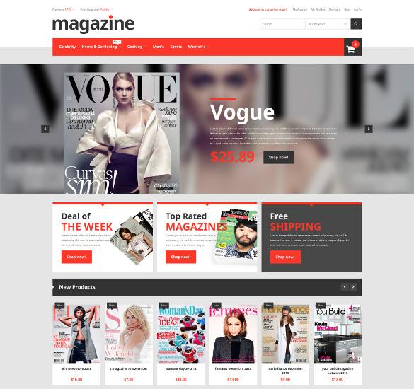 magazine news store magento psd theme