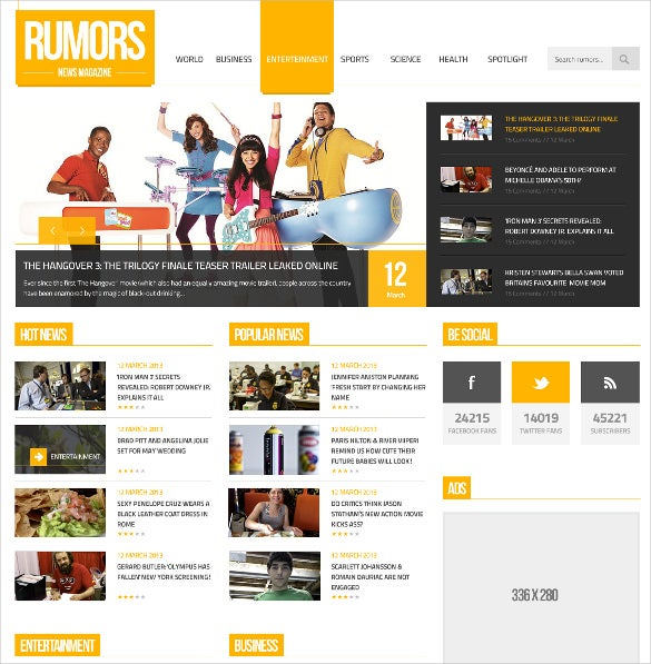 rumors news responsive wordpress psd theme