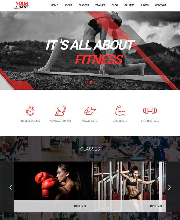 elegant fitness sports wordpress template