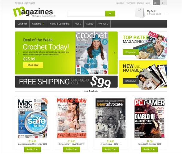 glossy magazines magento psd theme