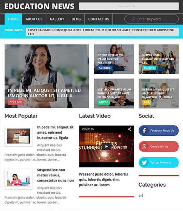 education news responsive wordpress theme
